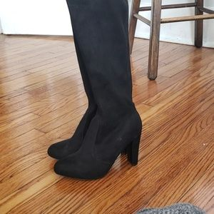Wild Diva Shoes - Black Thigh High Boots
